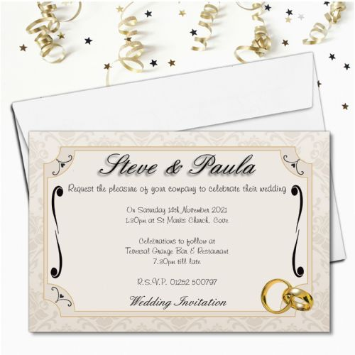 10 Personalised Gold Rings Wedding Invitations ~ Day / Evening N49